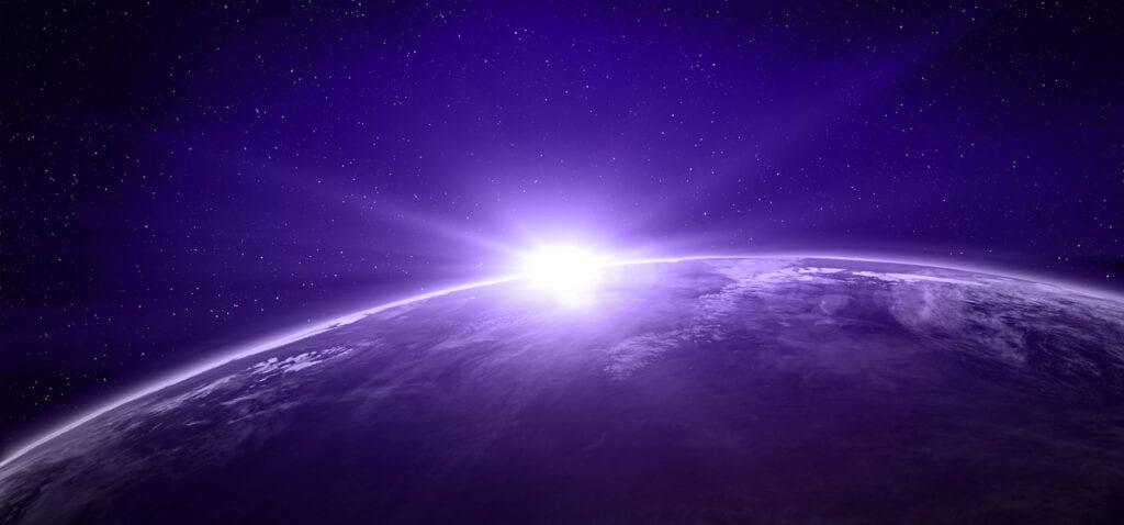 Luz que incide sobre o planeta Terra, imagem ilustrativa.