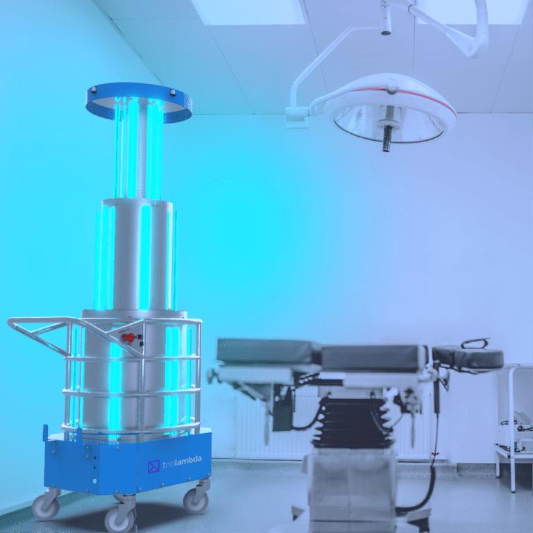 UV Room Max é usado para fazer desinfecção em sala de atendimento de clínica